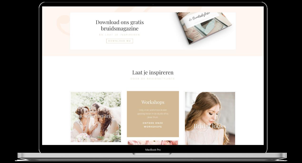 Website ontwerp voor de Bruidsstyliste