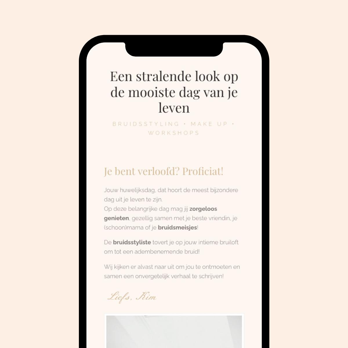 Responsive Website ontwerp voor de Bruidsstyliste