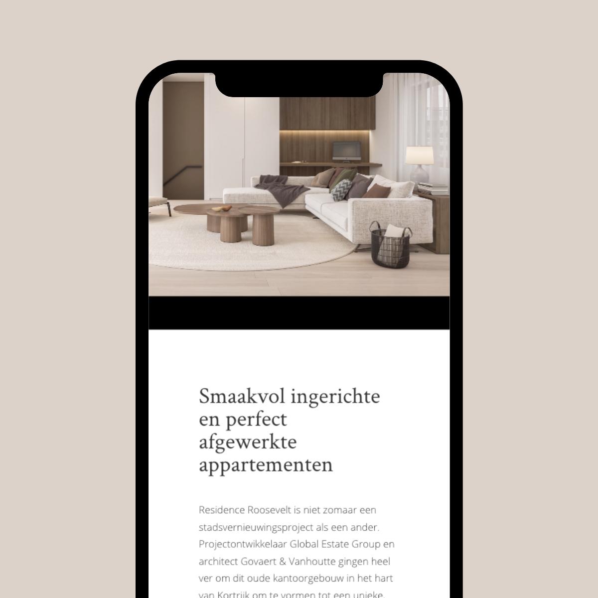 Residence Roosevelt 12A responsive website ontwerp
