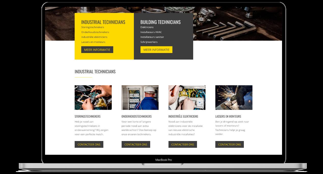 Website ontwerp voor Technicians