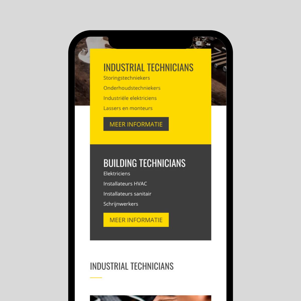 Responsive website ontwerp voor Technicians