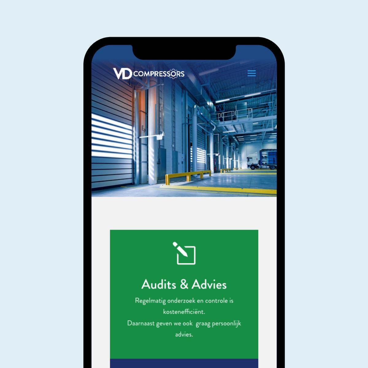 Responsive Website ontwerp voor VD compressors