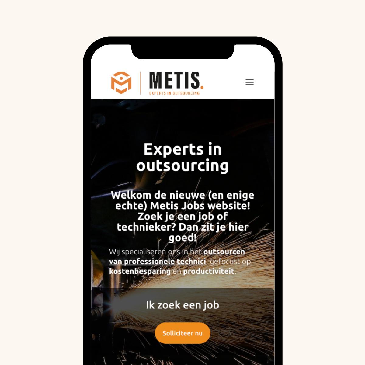 Mobiele website voor Metis Jobs