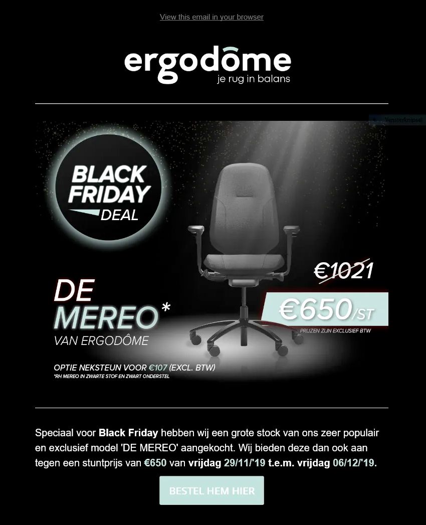 Direct mailing campagne voor Ergodome