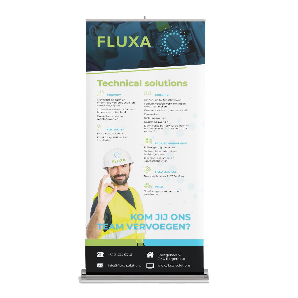 Roll-up banner voor Fluxa