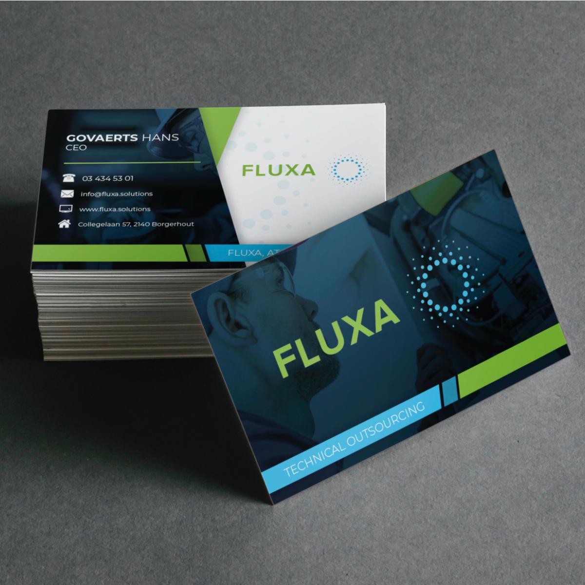 Ontwerp visitekaartjes voor Fluxa